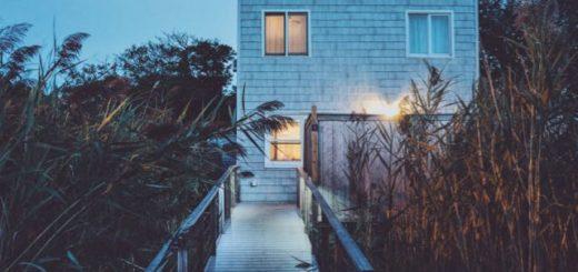 beach house with tall plants at dusk