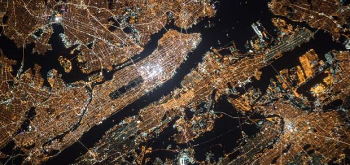 New York City areal night view