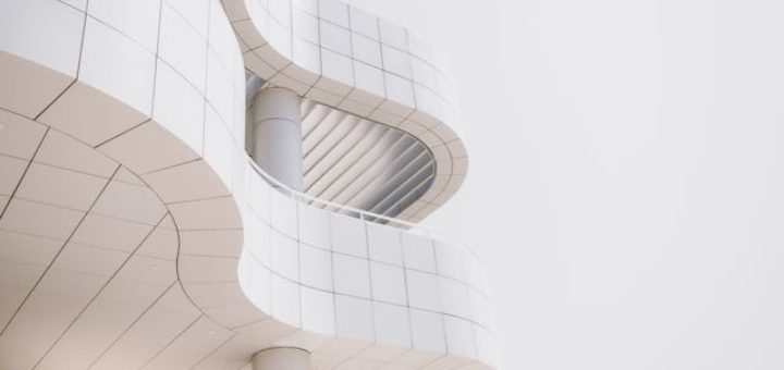 modern white curved building
