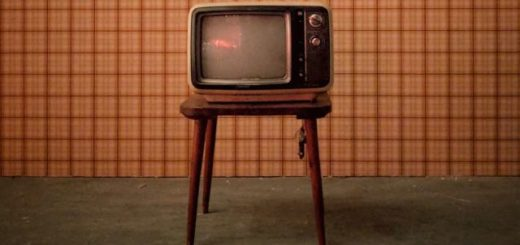 old television set on a chair