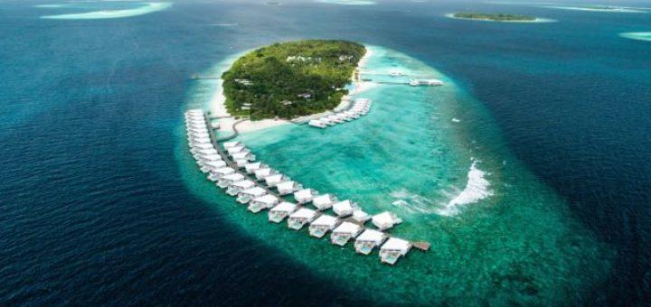 luxury villas on a small remote island