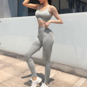 Fitness Set Αθλητικό Κολάν Ψηλόμεσο και Μπουστάκι με Ρυθμιζόμενες Τιράντες Begie (9154)