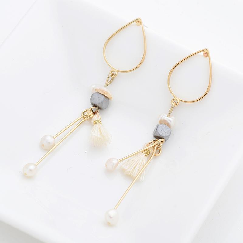 Κρεμαστά Σκουλαρίκια Water Drop Shiny Gold   Pearl - ACCESSORISTA 40e2b52ca12