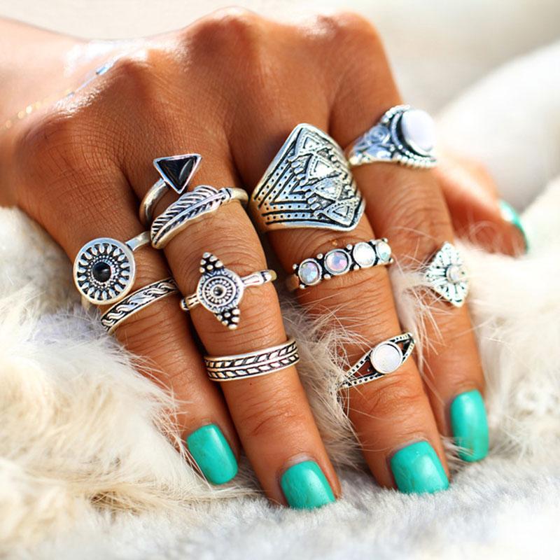 Σετ 10 Δαχτυλίδια Macadamian Silver Boho - ACCESSORISTA 5445762df46