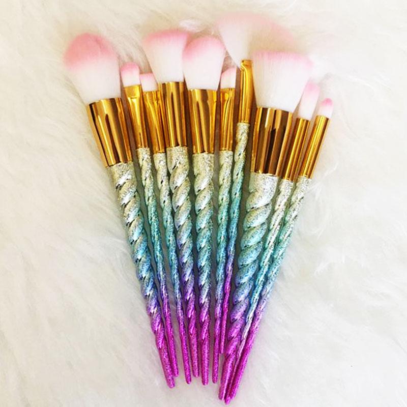 Σετ 10 Πινέλα Μακιγιάζ Glitter Rainbow Unicorn