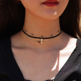 Choker Multilayer Κολιέ Shiny Gold
