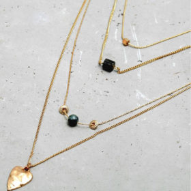 Multilayer Κολιέ Heart Gold Geometric Stones