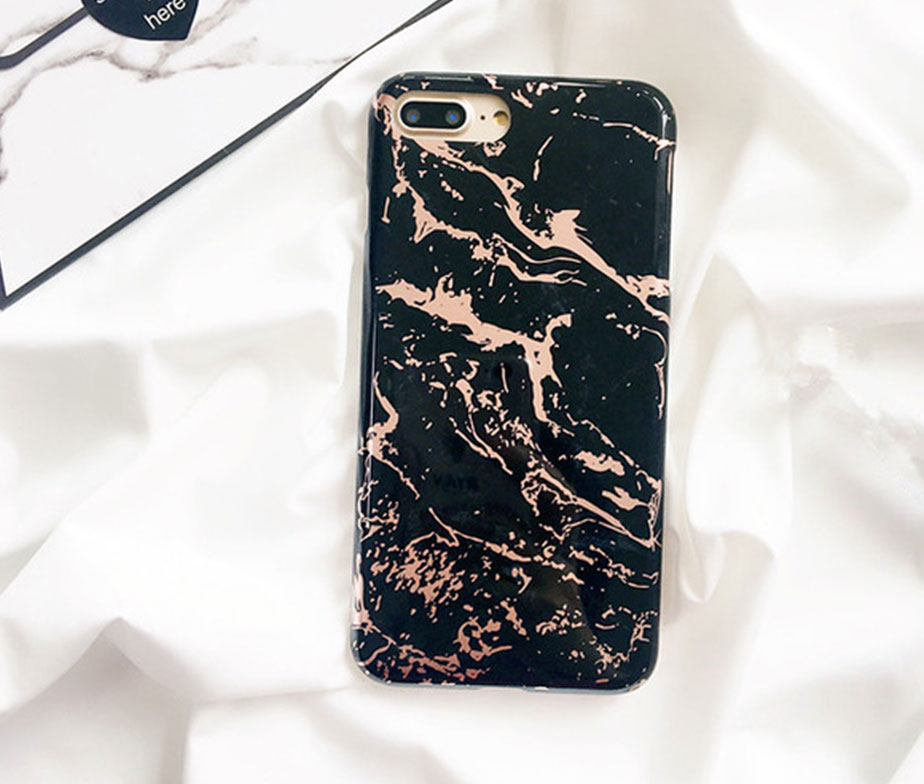 Θήκη Marble Black / Gold - iPhone 7 / iPhone 8