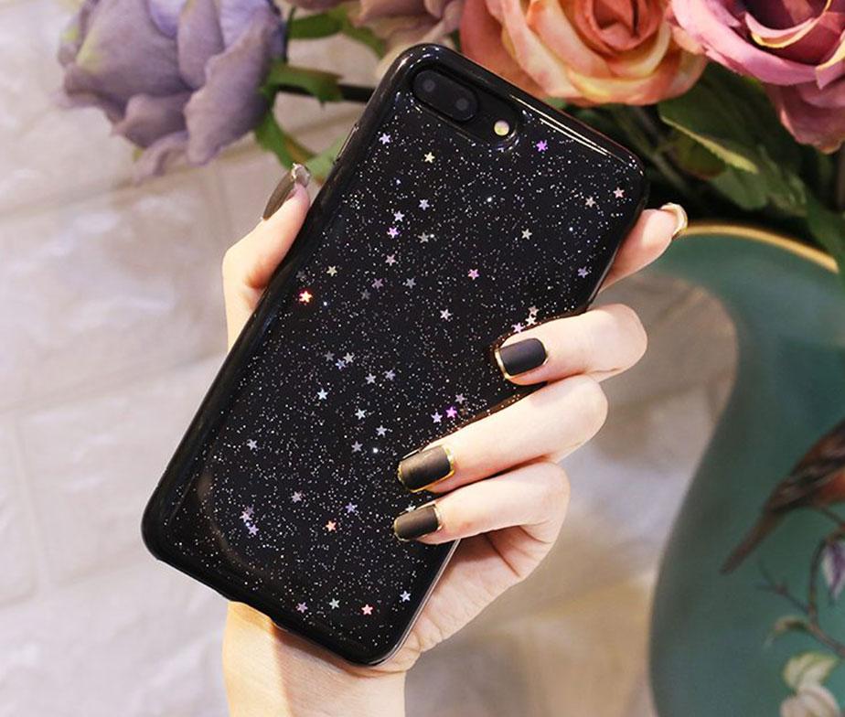 Θήκη Glitter Star Μαύρη - iPhone 7 PLUS / iPhone 8 PLUS