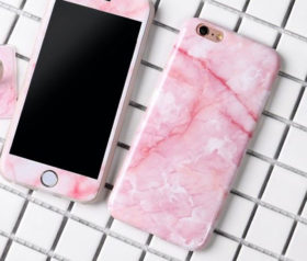 Marble Full Cover Set Θήκη + Tempered Glass Ροζ - iPhone 6 / iPhone 6s