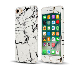 Marble Full Cover Set Θήκη + Tempered Glass Λευκή - iPhone 6 / iPhone 6s