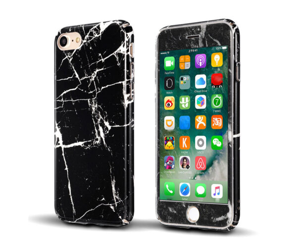Marble Full Cover Set Θήκη + Tempered Glass Μαύρη - iPhone 6 / iPhone 6s