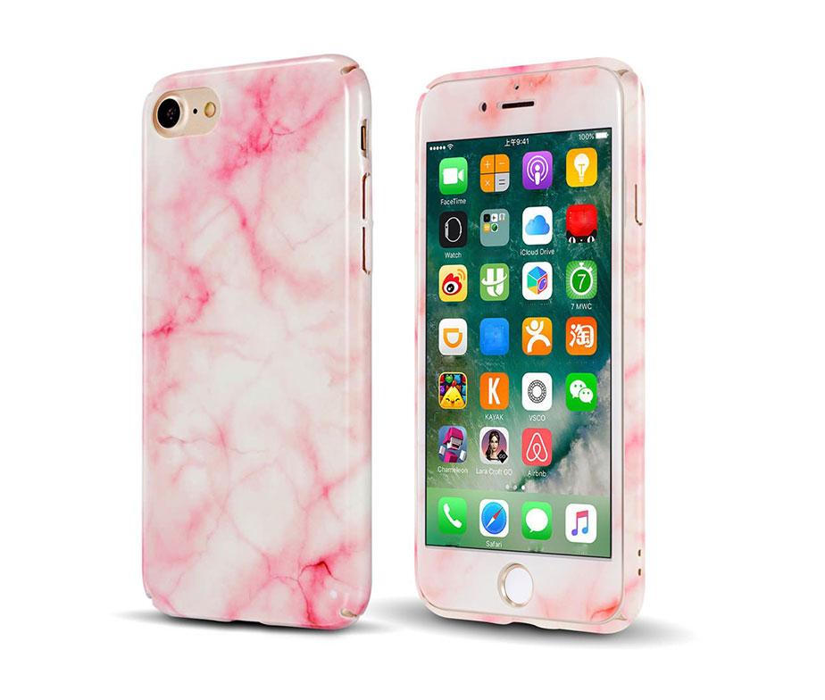 Marble Full Cover Set Θήκη + Tempered Glass Ροζ - iPhone 7 / iPhone8