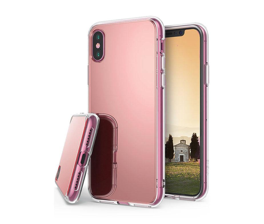 Θήκη Καθρέπτης Ροζ / Χρυσή TPU - iPhone X