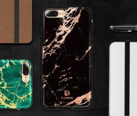 Θήκη Floveme Μάρμαρο Μαύρο με Ροζ Χρυσό Pattern - iPhone 7/ iPhone 8