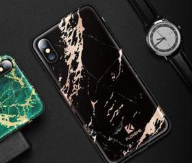 Θήκη Floveme Μάρμαρο Μαύρο με Ροζ Χρυσό Pattern - iPhone X