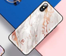 Θήκη Floveme Μάρμαρο Λευκό με Ροζ Χρυσό Pattern - iPhone X