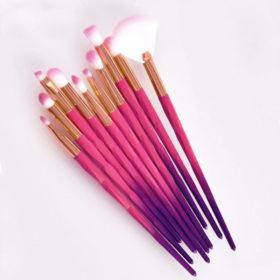 Σετ 10 Πινέλα Μακιγιάζ Ματιών Pink/Purple Diamond