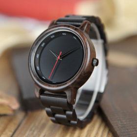 Ρολόι Bamboo Stealth με Ebony Ξύλινο Bracelet και Ξύλινη Συσκευασία Δώρο