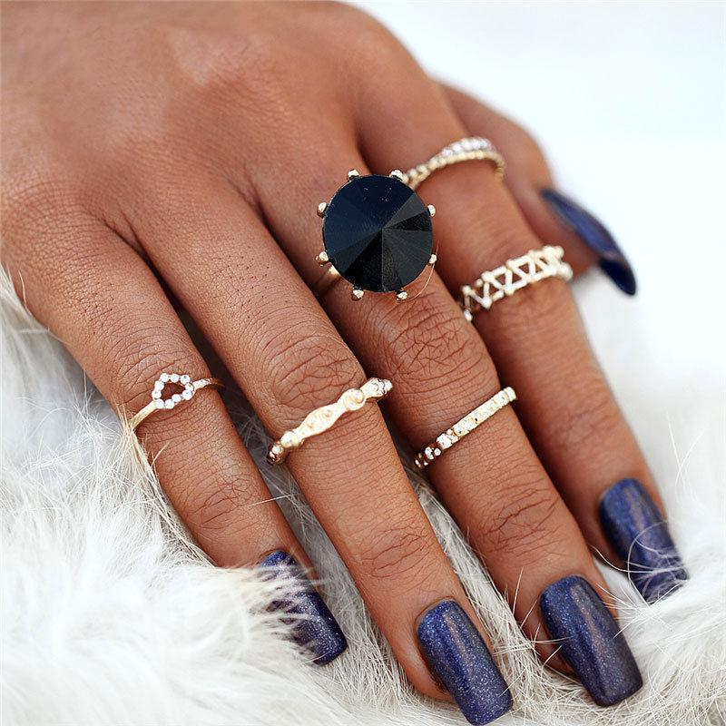Σετ 6 Δαχτυλίδια Bohemian Black Diamond