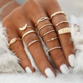 Σετ 12 Δαχτυλίδια Bohemian Rome Gold