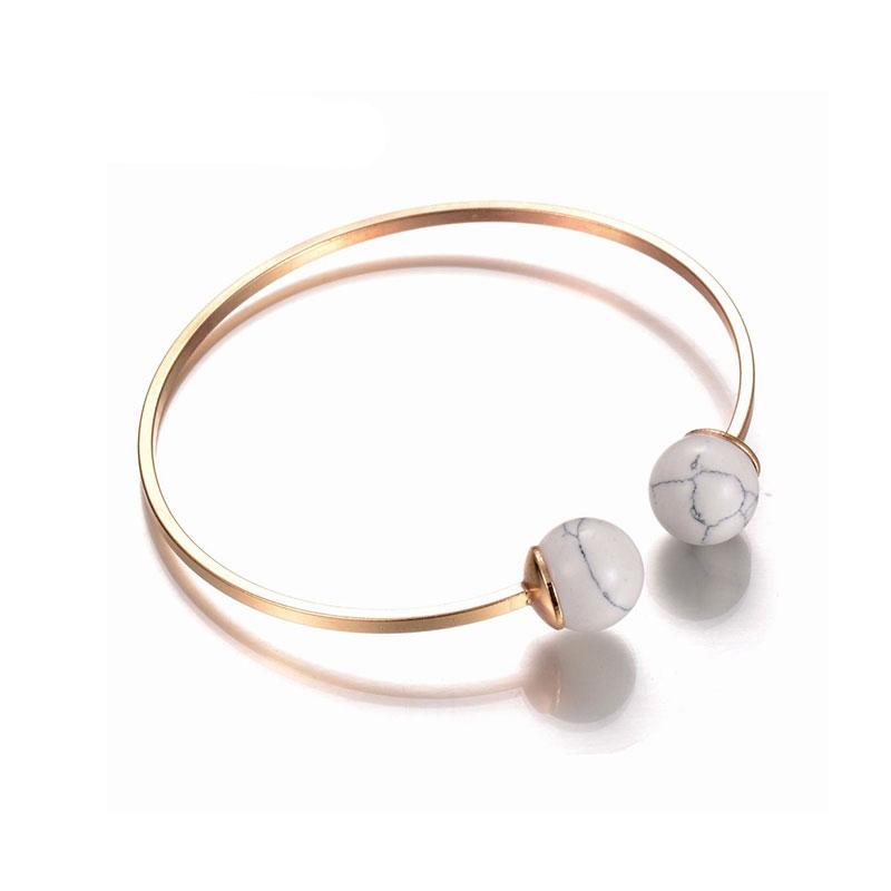 Χρυσό βραχιόλι circle   marble effect σε λευκό χρώμα f1ba4f324a4