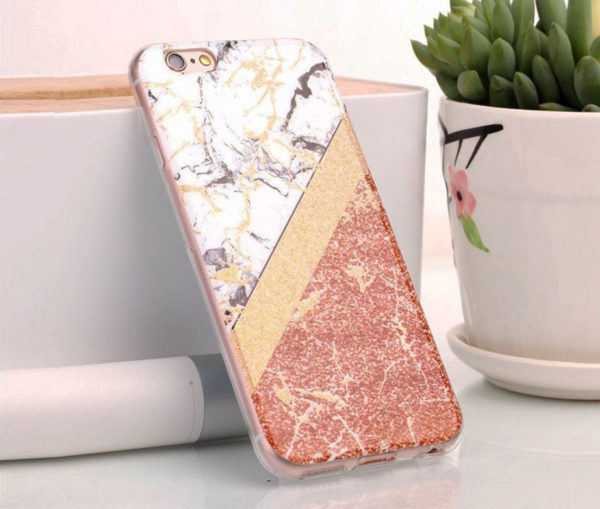 Θήκη Glitter Powder Marble Gold Μαλακή - iPhone 6/ iPhone 6s