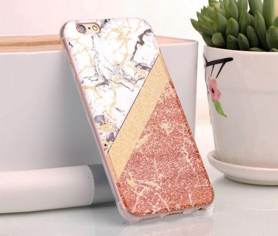 Θήκη Glitter Powder Marble Gold Μαλακή - iPhone 6/ iPhone 6s