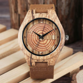 Ρολόι Bamboo & Leather Strap Wooden