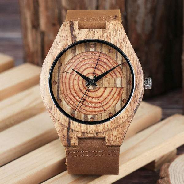 Ρολόι Bamboo & Leather Strap Wooden