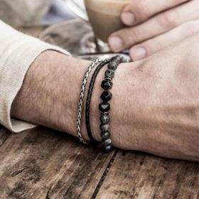 Premium ανδρικό βραχιόλι Multilayer Black Marble / Lava