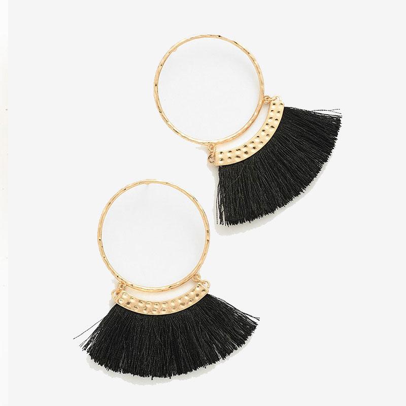 Κρεμαστά Σκουλαρίκια Bohemian Black Tassel Circle Gold