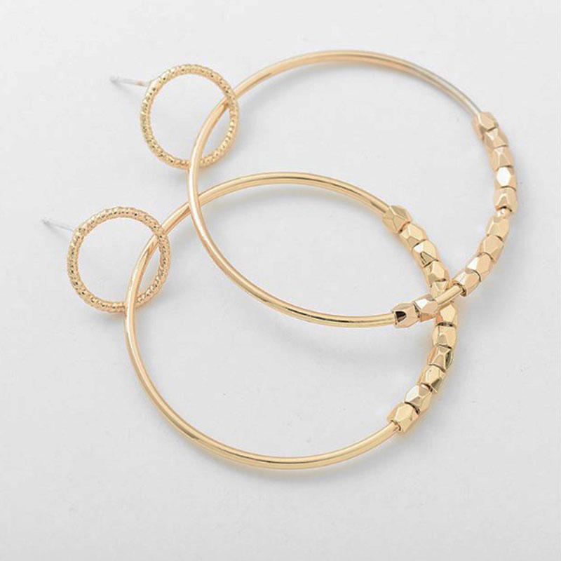 Κρεμαστά Σκουλαρίκια Elegant Circle Gold