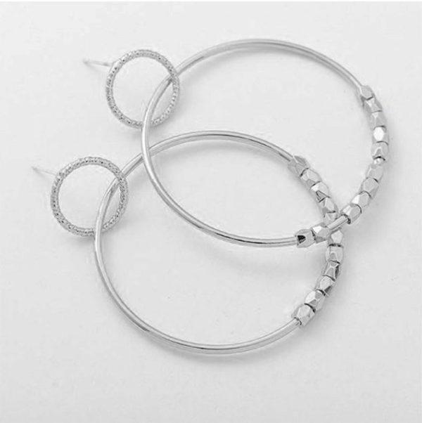 Κρεμαστά Σκουλαρίκια Elegant Circle Silver