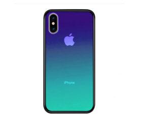 Θήκη Gradient Tempered Glass Ημιδιάφανη Μπλε/Πράσινη - iPhone Xs Max
