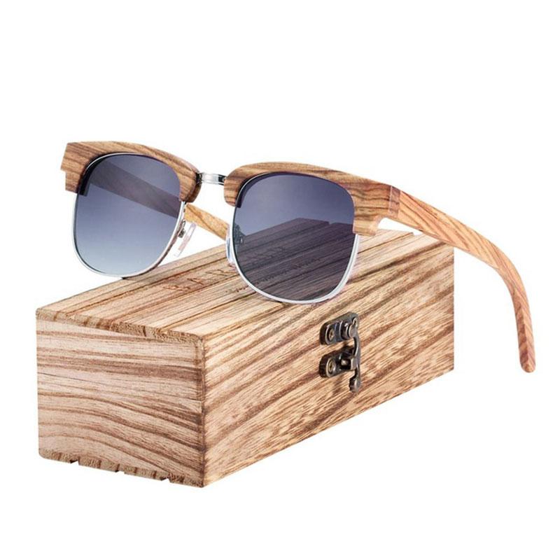 bc7edef467 Γυαλιά Ηλίου Bamboo Clubmaster Style με Γκρι Polarized Φακό ...