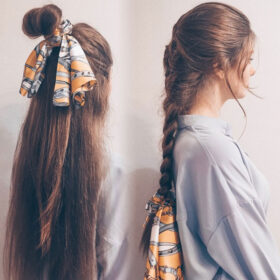 Μαντήλι Μαλλιών Yellow Retro Pattern