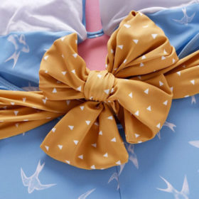 Μαγιό Ολόσωμο με Βαθύ Ντεκολτέ & Φιόγκο Blue/Yellow