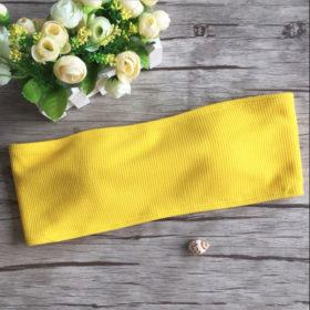 Μαγιό Ψηλόμεσο Strapless Floral Yellow
