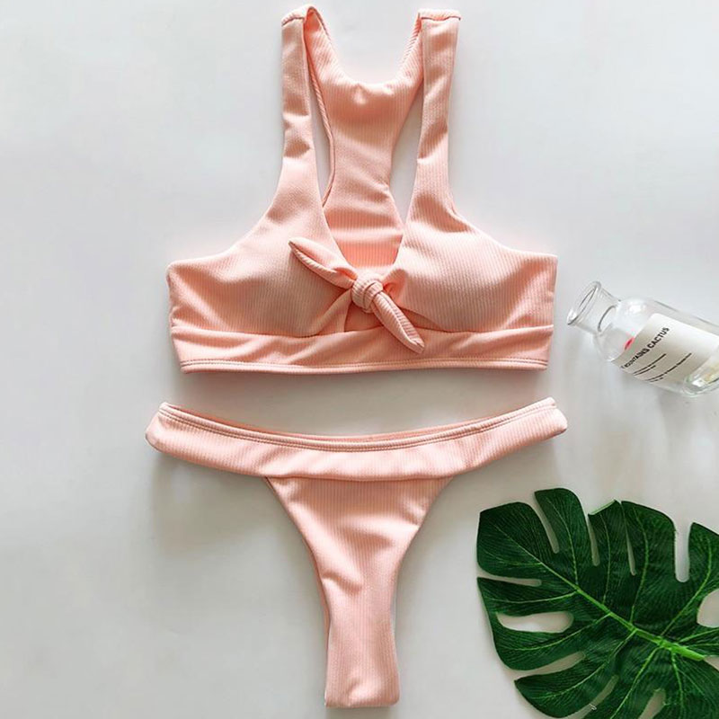 e557cebb286 Μαγιό Brazil Αθλητικό με Δέσιμο στο Μπούστο Baby Pink