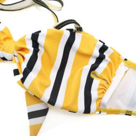 Μαγιό Μπικίνι με Φιόγκο στο Μπούστο Retro Yellow/Black
