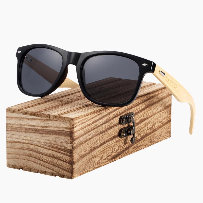 Γυαλιά Ηλίου Black Frame & Bamboo με Black Polarized Φακό (AC4175)