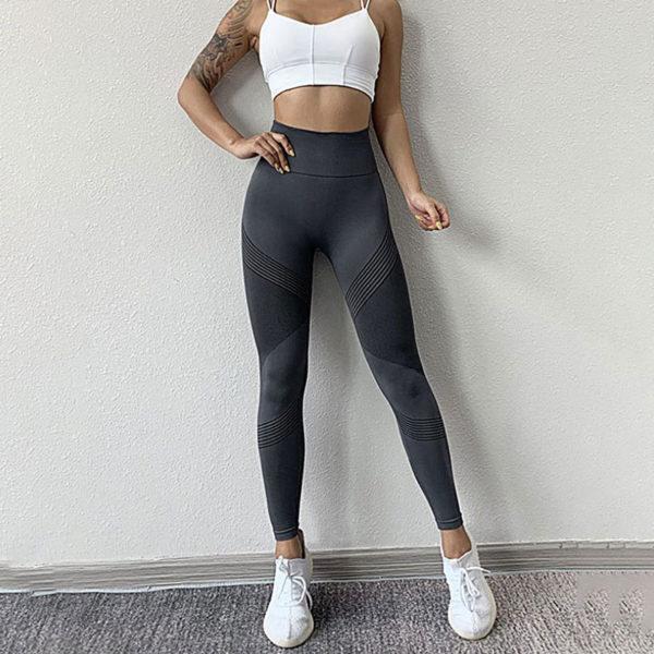 Αθλητικό Κολάν Ψηλόμεσο για Yoga Ανθρακί