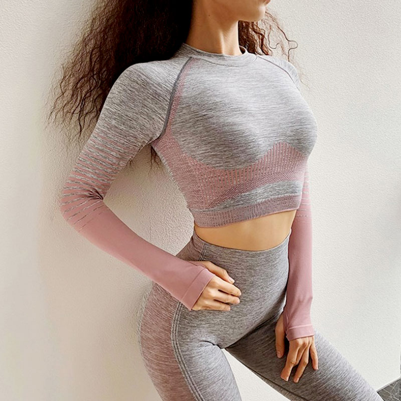Yoga Set Αθλητικό Κολάν Ψηλόμεσο & Μπουστάκι Μακρυμάνικο Pink - Small
