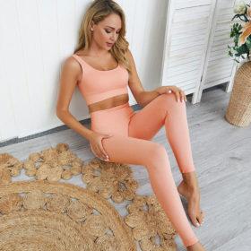 Yoga Set Αθλητικό Κολάν Ψηλόμεσο & Μπουστάκι Coral Pink - Small