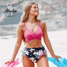 Μαγιό Ψηλόμεσο Pink Floral Ρυθμιζόμενες Τιράντες - Paradise 2020