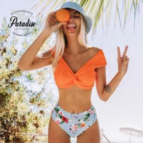 Μαγιό Tropical Orange με Βολάν - Paradise 2020
