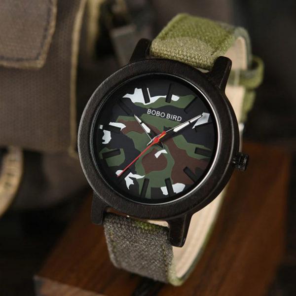 Ρολόι Bamboo Army Green με Nylon Λουράκι Army + Ξύλινη Συσκευασία Δώρου