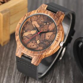Ρολόι Bamboo Forester με Μαύρο Δερμάτινο Λουράκι
