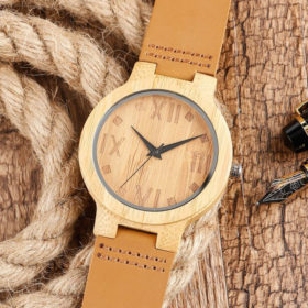 Ρολόι Bamboo με Leather Strap και Fade Wood Latin Καντράν Unisex